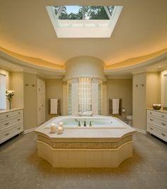 decoracao de banheiros com claraboia de vidro Projetos de banheiros e salas de banho com claraboias