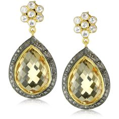 Amrapali 14k Gold and Sterling Silver Citrine and Diamond Earrings ($1,625) found