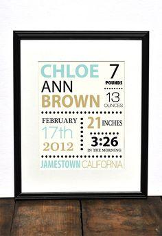 Custom Birth Announcement // Personalized Nursery Print // Baby Shower Gift // Newborn Gift // Typography Archival Art Print