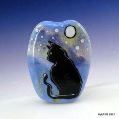 """MOONLIGHT MAGIC"" byKAYO a Handmade CAT Lampwork Art Glass Focal Bead SRA #Lampwork"