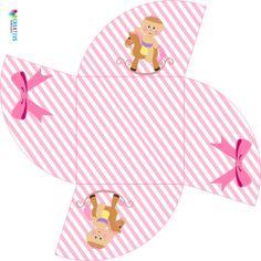 Caixa para bombom em formato de estrela tema bebê menina, Envie para a impressora, corte e monte