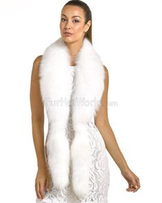 b1fbf955e3a8 Cecilia White Fox Fur Fling with Tails