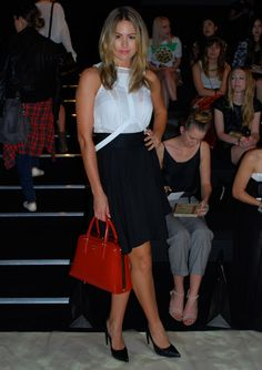 Jesinta Campbell -Bless'd Are The Meek top and leather harness, Dakota skirt, Prada bag, Yves Saint Laurent shoes.