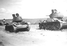 Captured Russian Type T-26 light tanks