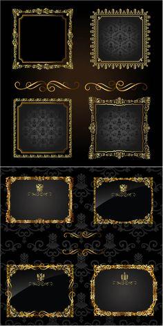 Gold royal retro frames vector
