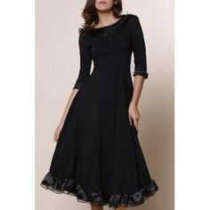 SHARE & Get it FREE | Vintage Solid Color Round Collar Flounced 3/4 Sleeve Dress For WomenFor Fashion Lovers only:80,000+ Items·FREE SHIPPING Join Dresslily: Get YOUR $50 NOW!