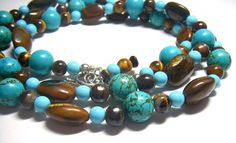 Luxurious Turquoise Tigers Eye Long Silver by leilahaikonen, $149.95