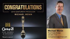 Congratulations and Thumbs Up to Michael Menin for being our 2016 Centurion Producer  Century 21 Northwest Realty Family and Friends wish you more luck and success!!!