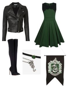 Slytherin Inspired Outfit by thisismandee on Polyvore featuring polyvore, fashion, style, WithChic, IRO, Gianvito Rossi, Warner Bros., WALL and clothing