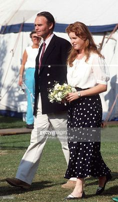 Duchess Of York, Sarah Ferguson, With Private Secretary Sean O'dwyer At Smiths Lawn Polo Grounds, Windsor Circa 1980s
