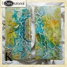 veins made with hot glue and sprays Sizzix Die Cutting Tutorial: Mixed Media Upcycled Corrugate Art Panels by Vivian Keh Altered Canvas, Altered Art, Mixed Media Tutorials, Art Tutorials, Mixed Media Collage, Mixed Media Canvas, Art Journal Pages, Art Journaling, Junk Journal