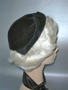 Vintage Black Velour Emme Ladies Hat Made in by onsunshinealley, $12.00