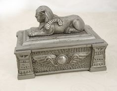 Antique Egyptian Revival Sphinx Stamp   Box tobacco box King Tut Winged Beetle on Etsy, £165.40
