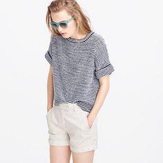 "Proof that everything (i.e., shorts, pants, skirts) looks better with a striped shirt. Our designers especially love this style for the mixed-yarn fabric that gives it a slightly spongy, textured feel. <ul><li>Relaxed fit.</li><li>Hits slightly below hip.</li><li>Body length: 21"".</li><li>Cotton/nylon.</li><li>Rib trim at neck and cuffs.</li><li>Hand wash.</li><li>Import.</li></ul>"