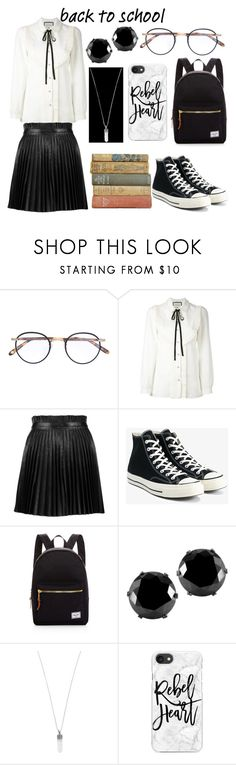 Schoolgirl Set #2 by sandstormthenerd on Polyvore featuring Gucci, RED Valentino, Converse, Herschel Supply Co., West Coast Jewelry, Marc Jacobs, Casetify, Garrett Leight, modern and BackToSchool