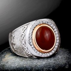 Men's Gemstone Ring with Natural Red Agate Cabochon in 925 Sterling Silver