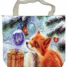 Red fox Christmas tree bell gifts shoulder handbag shopping tote handmade zipper #designcer #ShoulderBag