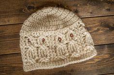 handmade crochet 2-3 yr size owl hat by colormeknotshop on Etsy