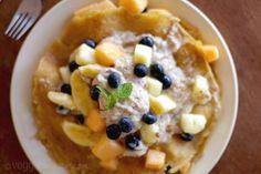 Coconut Crepes w/ Tropical Fruits & Banana Almond Cream