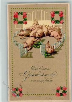 Neujahr - Biedermeier Verzierung - viele Schweine litho: Ansichtskarten-Center Onlineshop