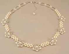 Regal Elegance Woven  Bridal Necklace   Ivory Pearls and