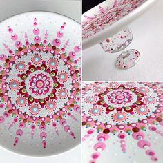 What Gorgeous Colors in This Mandala! Mandala Design, Mandala Art, Mandala Painting, Mandala Rocks, Dot Art Painting, Ceramic Painting, Painting Patterns, Stone Painting, Ceramic Art