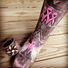 LaGrange Leather Breast Cancer Awareness Boots