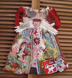 MY BONNY fabric ART DRESS Folk Artist Collage Vintage Couture assemblage many fabric scraps Virgin de Guadalupe lace flowers