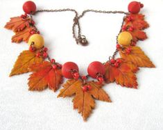 Golden Autumn leaf polymer clay jewelry multicolor art necklace Yellow leaf clay autumn jewelry Colorful handcraf statment necklace jewelry