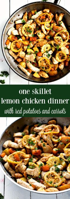 Easy ONE Skillet lemon chicken, red potatoes, and carrots!