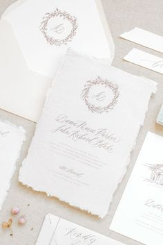 Custom Wedding Stationery Design // Soft Romance at The Laurel. Take a peek at this soft and airy fine art wedding inspiration by Sarah Ann Design. www.sarahanndesign.co