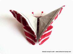 Le stesse farfalline che ho fatto ieri di carta si possono fare anche di stoffa e vengono bellissime, deliziose come...