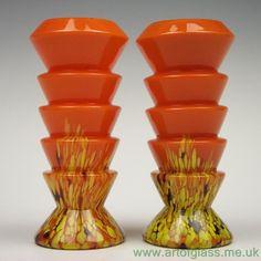 Pair of Art Deco 1930s Kralik glass vases