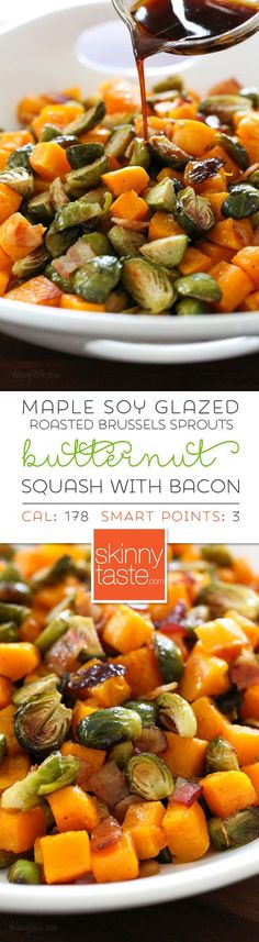 Roasted Brussels Sprouts and Butternut Squash are delicious on their own, but adding bacon and a maple soy glaze makes them over-the-top delicious! Made all on one sheet pan, you can double or triple this recipe to feed a crowd by adding more sheet pans. #maplebrusselssprouts #brusselssprouts #butternut squash