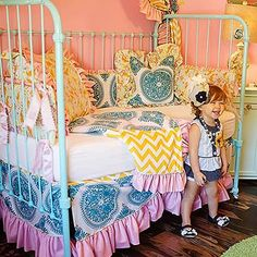 This girly bedding is so beautiful!  I wish I had this in P's room.  Claire Toddler Bedding Collection