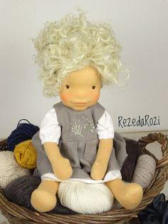 "Waldorf inspired doll Anna - 18"" tall handmade natural fiber art cloth doll stuffed with wool fibre, clothes, OOAK ECO friendly RezedaRozi by RezedaRozi on Etsy"