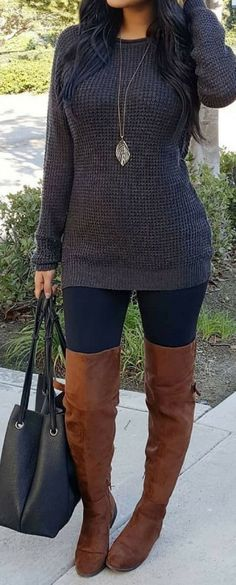 #Winter #Outfits / Dark Gray Sweater + OTK Boots