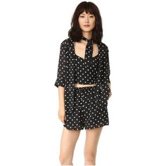 Style Mafia Polka Dot Romper Set (120 CAD) ❤ liked on Polyvore featuring black, polka dot camisole, chiffon cami, cropped cami, cropped camisoles and chiffon camisole