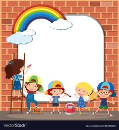 Border template with kids drawing on brickwall Vector Image