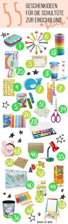 55 Geschenkideen für den Schulanfang und die Schultüte