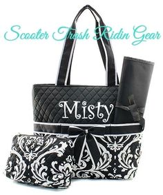 Diaper Bag Personalized Baby Tote Black White Damask Fl Monogram New Strg Diaperbag