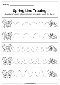Spring line tracing worksheets