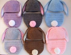 Crochet Easter Bunny Baby Hat - Diaper Cover - You Pick Size and Color - Ready to Ship. $22.00, via Etsy.