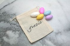 "Wedding mini favor bags, muslin, 2x4. Set of 50. Italian ""Grazie"" in black on natural white cotton. Perfect for customary sugared almonds., $50.00"