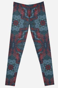 """Vintage Fancy Pattern in Deep Teal & Red"" Leggings by micklyn 