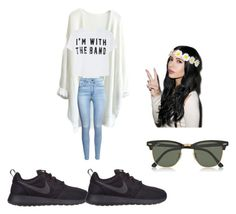 """""""hey"""" by ralphinas ❤ liked on Polyvore featuring H&M, NIKE, Ray-Ban, women's clothing, women, female, woman, misses and juniors"""