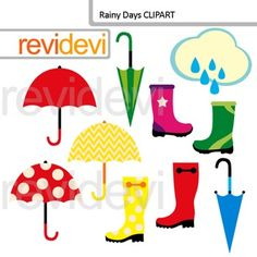 Digital Clip art Rainy Days - Umbrellas and Boots Clipart. Great for spring projects. There are 10 graphics in this pack. Red, yellow, blue, and green umbrellas. Red, yellow, green, and pink boots.You might also like this freebieLink-Free Clipart - Umbrella Digital Clip art - Freebie by RevideviThis cute digital clipart set is great for teachers and educators.