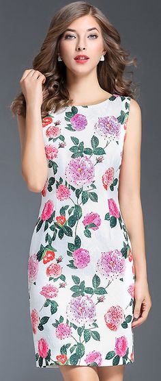 Chic Hollow Out Floral Print Sleeveless Bodycon Dress