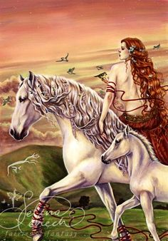 Lady on white horse Art via www.Facebook.com/SelinaFenechArt and www.SelinaFenech.com