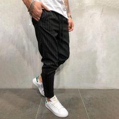 Men's ankle pants streetwear striped trousers side stripes casual slim fit Pantalon Streetwear, Style Streetwear, Ankle Pants, Trouser Pants, Jogger Pants, Joggers, Sergio Tacchini, Heather Black, Black Pants